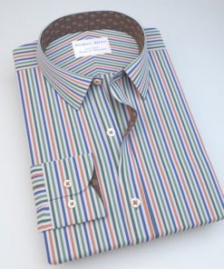 Blue & Green Striped Shirt with Accent 121167091