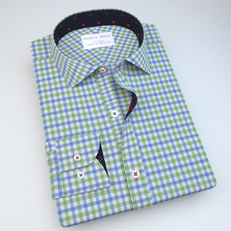 Green Gingham Dress Shirt with Accent 121189089