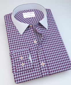 Maroon Gingham Dress Shirt 121193_white