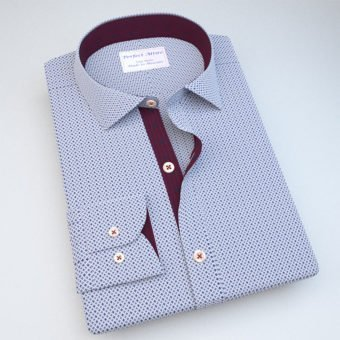 Blue Print Shirt with Maroon Accent 121403022