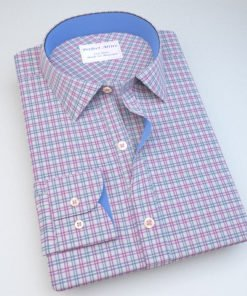 Red and Blue Formal Checks Dress Shirt with Accent 806127096