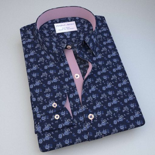 Blue floral shirt with pink trims Shirt C17+Pale_pink