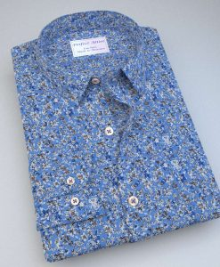 Blue Floral Prints Shirt 84023