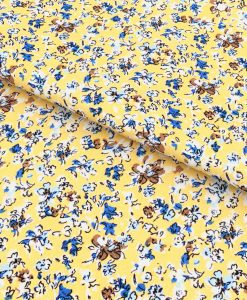 Yellow Floral Print Shirt Fabric 84024