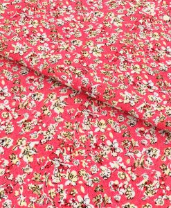 Red Floral Prints Shirt Fabric 84025