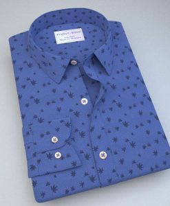 Blue Maple Leaves Print Shirt 84037