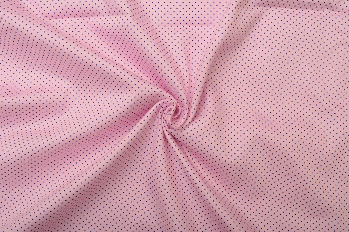 Pink with Navy Blue dots Shirt Fabric PAB039.