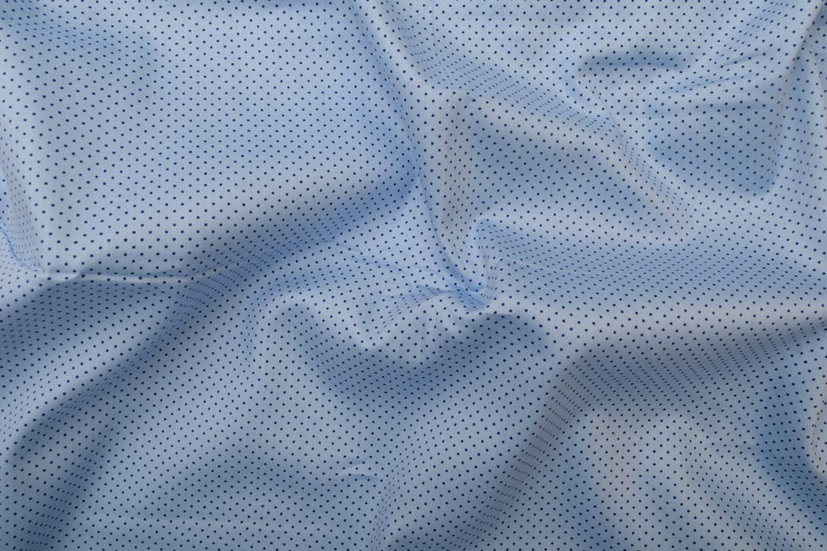 Blue with Navy Blue dots Shirt Fabric PAB041..