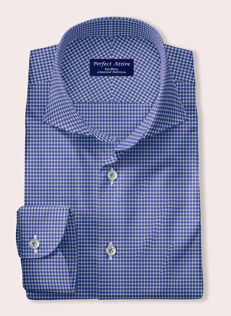 Blue Houndstooth dress shirt by perfect Attire - milled by Andreazza & Castelli