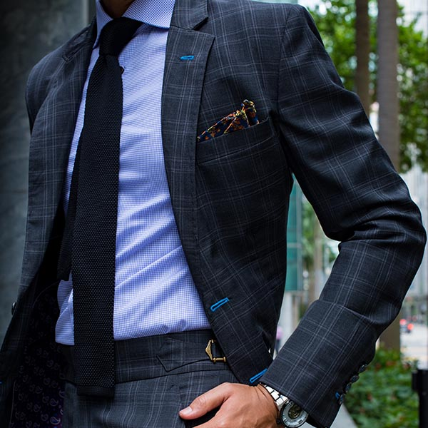Black Windowpane Check Tailored Suit with Notch Lapel by Perfect Attire Singapore