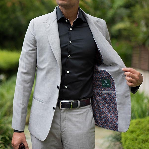Grey Bespoke Tailored Suit with Peak Lapel by Perfect Attire Singapore