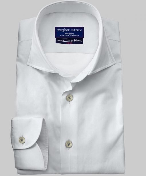 White Tailored Bespoke Business Twill Shirt Carola Series from Perfect Attire Singapore