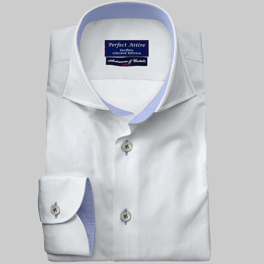 a169c8dd Twill 2ply 80. White Tailored Bespoke Business Twill Shirt Carola Series  from Perfect Attire Singapore