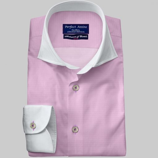 Pink Tailored Bespoke Business Twill Shirt Carola Series from Perfect Attire Singapore