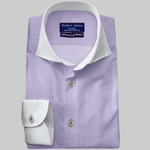 Lavender Purple Violet Tailored Bespoke Business Twill Shirt Carola Series from Perfect Attire Singapore