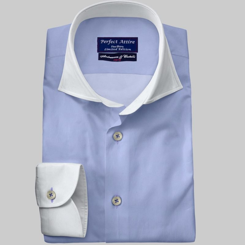 Blue Tailored Bespoke Business Twill Bankers Shirt Carola Series from Perfect Attire Singapore
