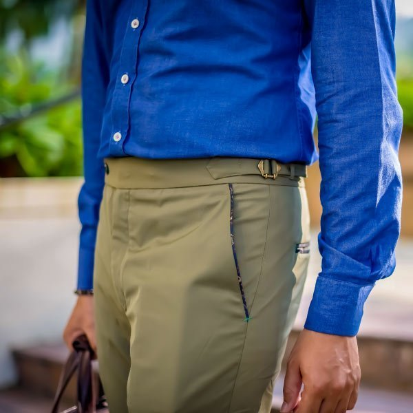 Bespoke Custom Tailored Olive Green Chino