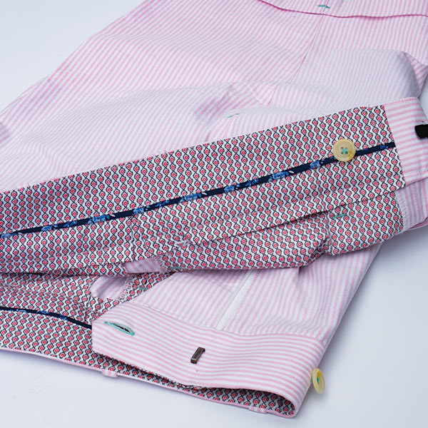 Construction Details of a Handmade CustomTailored Bespoke Chino Pink Striped Shorts by Perfect Attire Singapore