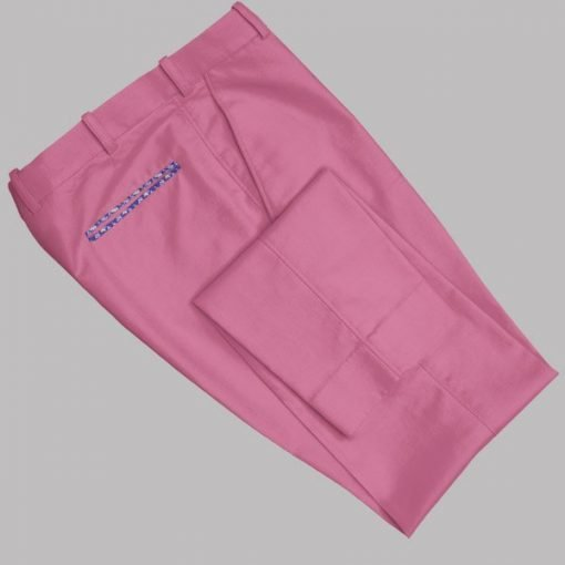 Tailored Men's Bespoke Pink Cotton Chinos with Blue Paisley Contrast