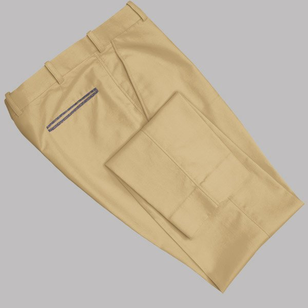 Tailored Khaki Tan Cotton Chino with Contrast by Perfect Attire Singapore