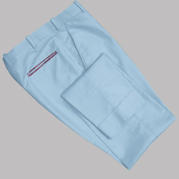 Tailored Light Blue Cotton Chino with Red Paisley Contrast by Perfect Attire Singapore