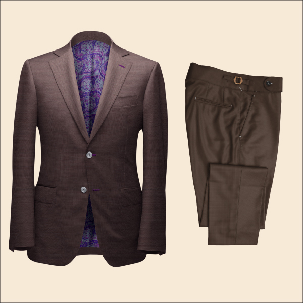 Two Piece Brown Tailored Bespoke Suit by Perfect Attire Singapore