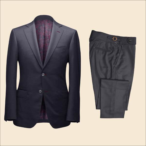 Two Piece Charcoal Grey Tailored Bespoke Suit by Perfect Attire Singapore