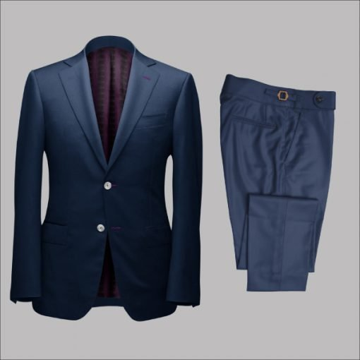 Two Piece Deep Blue Tailored Bespoke Suit by Perfect Attire Singapore