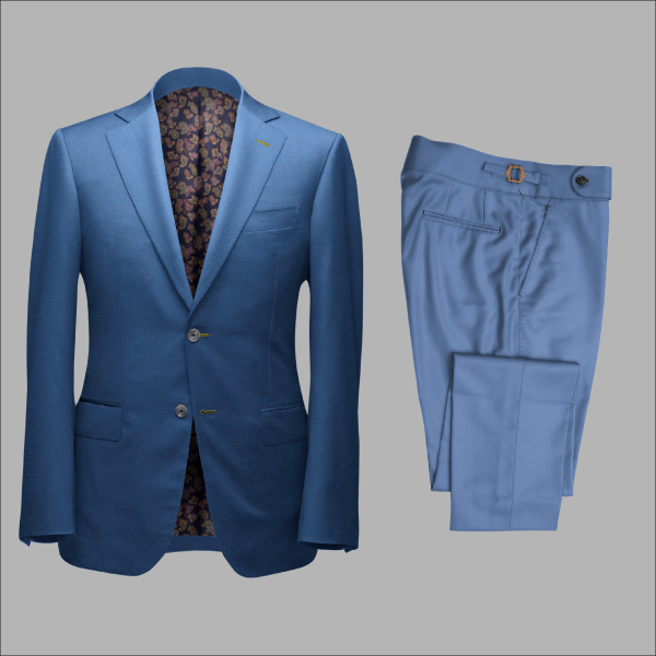 Two Piece Electric Blue Tailored Bespoke Suit by Perfect Attire Singapore