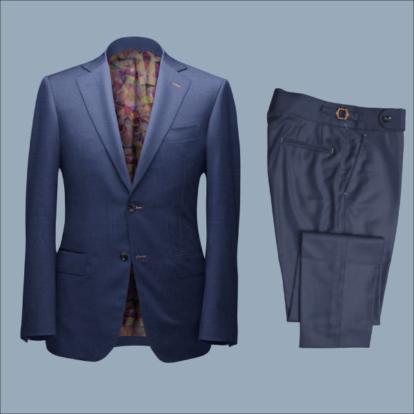 Two Piece Navy Blue Tailored Bespoke Suit by Perfect Attire Singapore