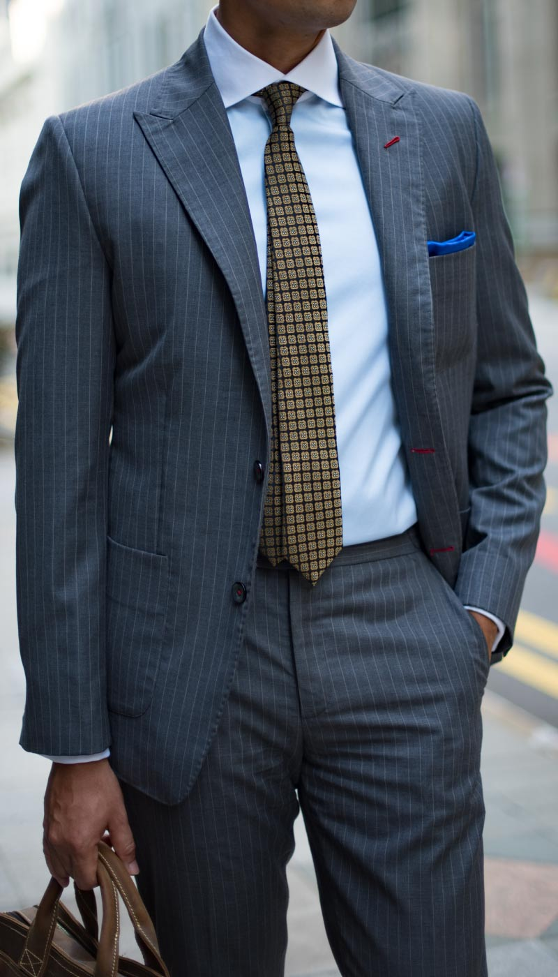 Grey Striped tailored custom bespoke Suit by Perfect Attire Singapore