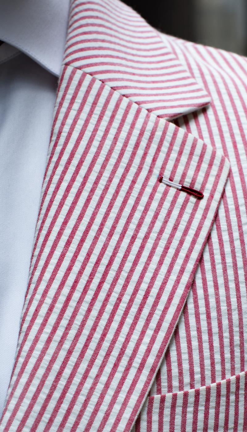 Red Striped Seersucker tailored custom bespoke blazer by Perfect Attire Singapore