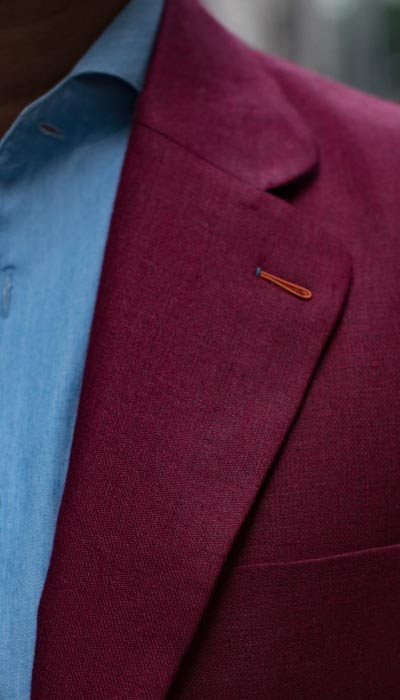 Milanese Buttonhole on a Red tailored custom bespoke blazer by Perfect Attire Singapore