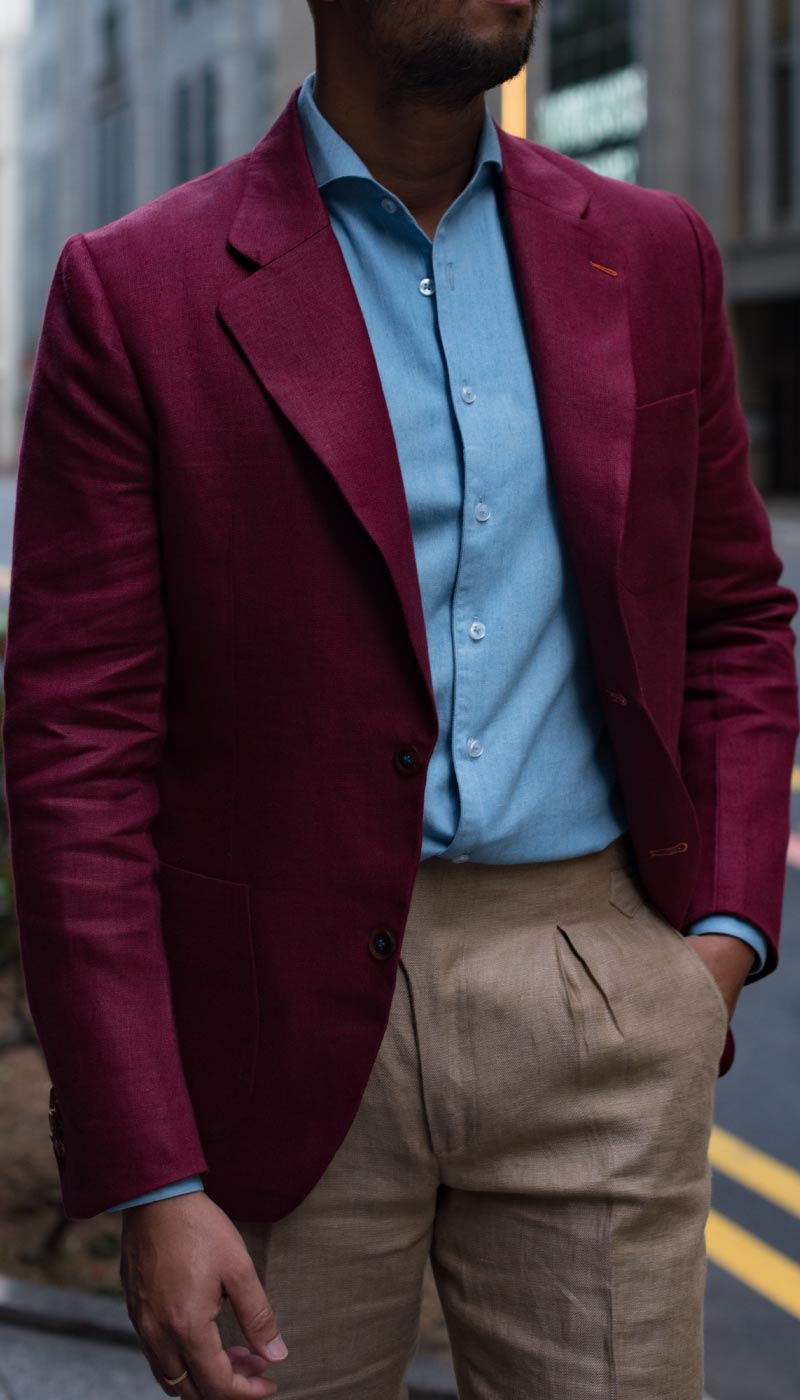 Red tailored custom bespoke blazer by Perfect Attire Singapore