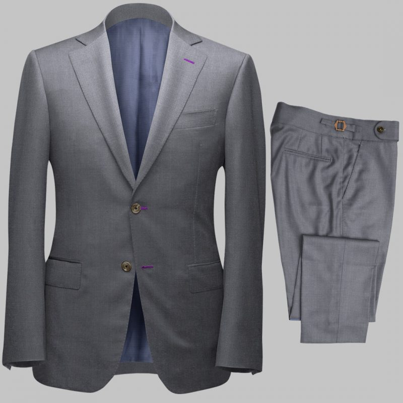 Bespoke Light Grey Tailored 2Piece Suit custom made by Perfect Attire Singpaore using fabric milled by Vitale Barberis Canonico (VBC)