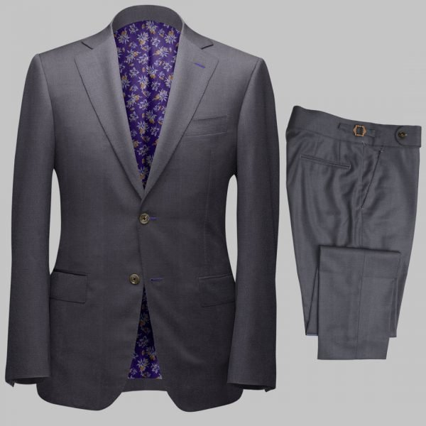 Bespoke Mid Grey Tailored 2Piece Suit custom made by Perfect Attire Singpaore using fabric milled by Vitale Barberis Canonico (VBC)