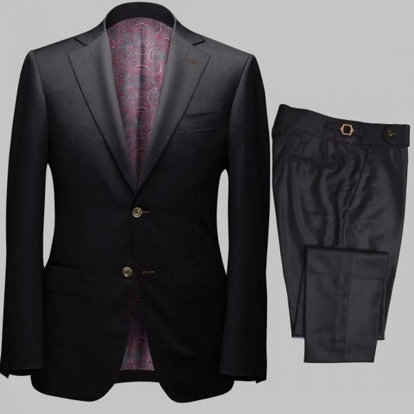 Bespoke Black Tailored 2Piece Suit custom made by Perfect Attire Singpaore
