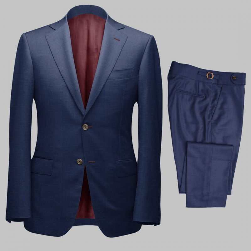 Bespoke Blue Sharkskin Tailored 2Piece Suit custom made by Perfect Attire Singpaore using fabric milled by Vitale Barberis Canonico (VBC)