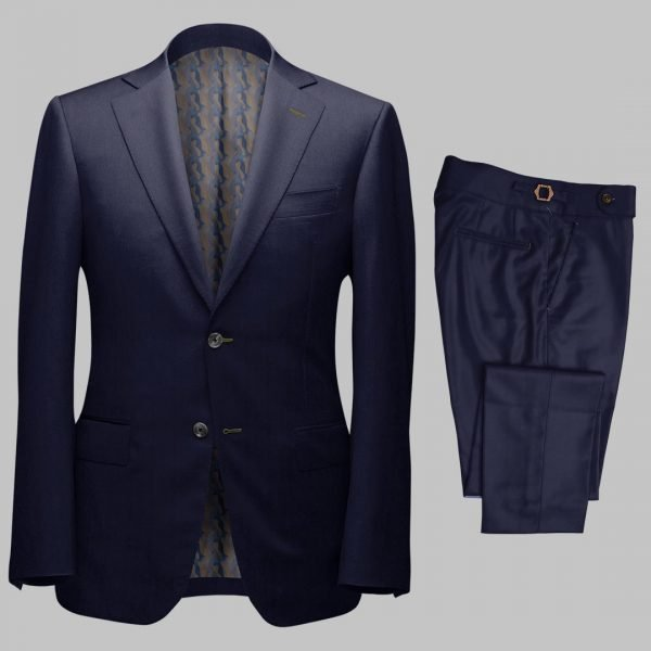 Bespoke Navy Sharkskin Tailored 2Piece Suit custom made by Perfect Attire Singpaore using fabric milled by Vitale Barberis Canonico (VBC)
