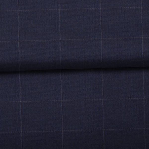 Navy Grey Windowpane- Holland & Sherry