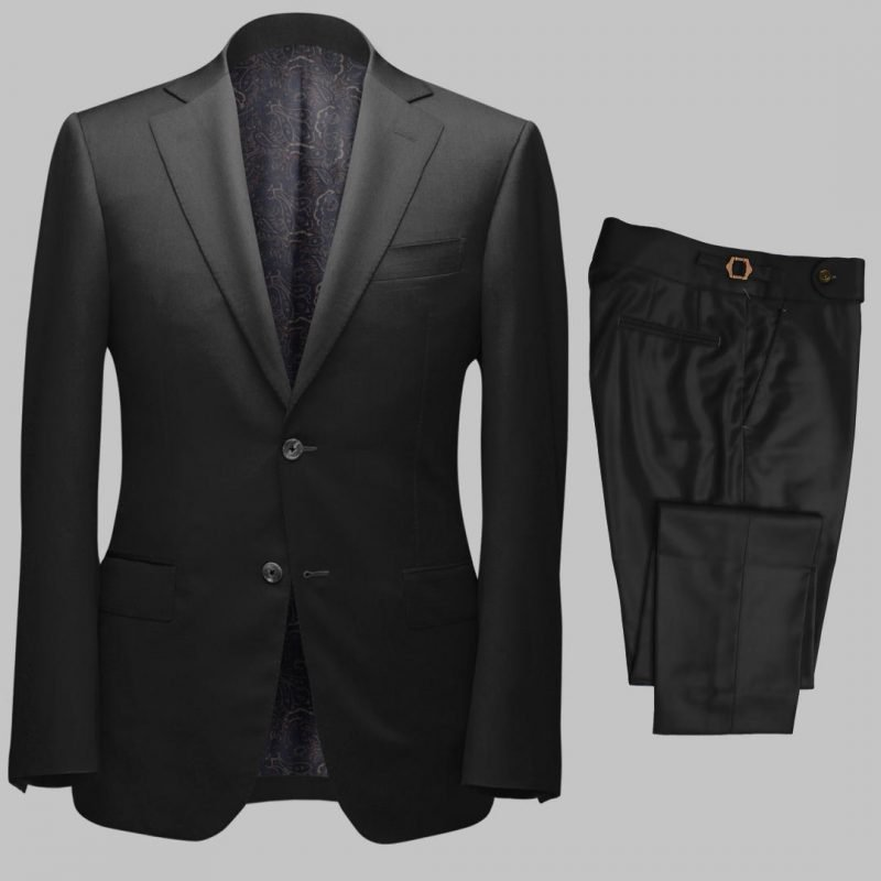 Bespoke Black Twill Tailored 2Piece Suit custom made by Perfect Attire Singpaore using fabric milled by Vitale Barberis Canonico (VBC)