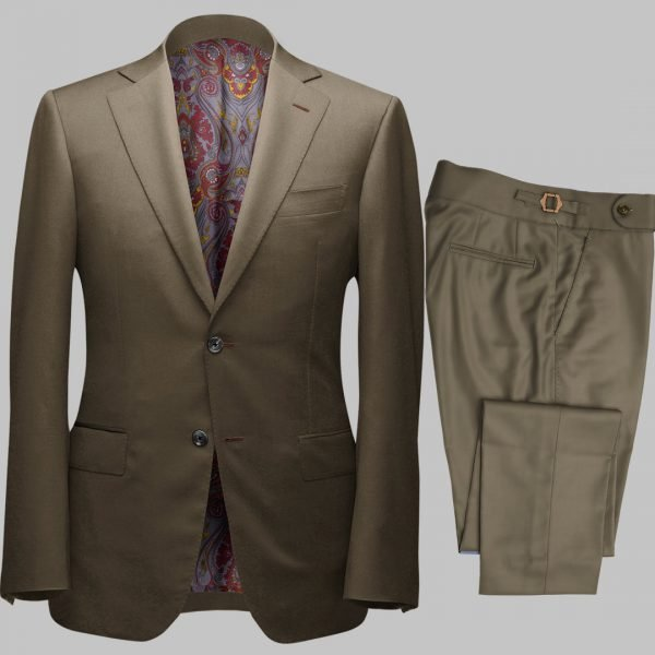 Bespoke Olive Green Tailored 2Piece Suit custom made by Perfect Attire Singpaore