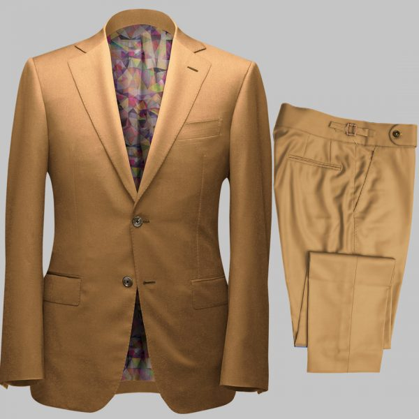 Bespoke Beige Tailored 2Piece Suit custom made by Perfect Attire Singpaore